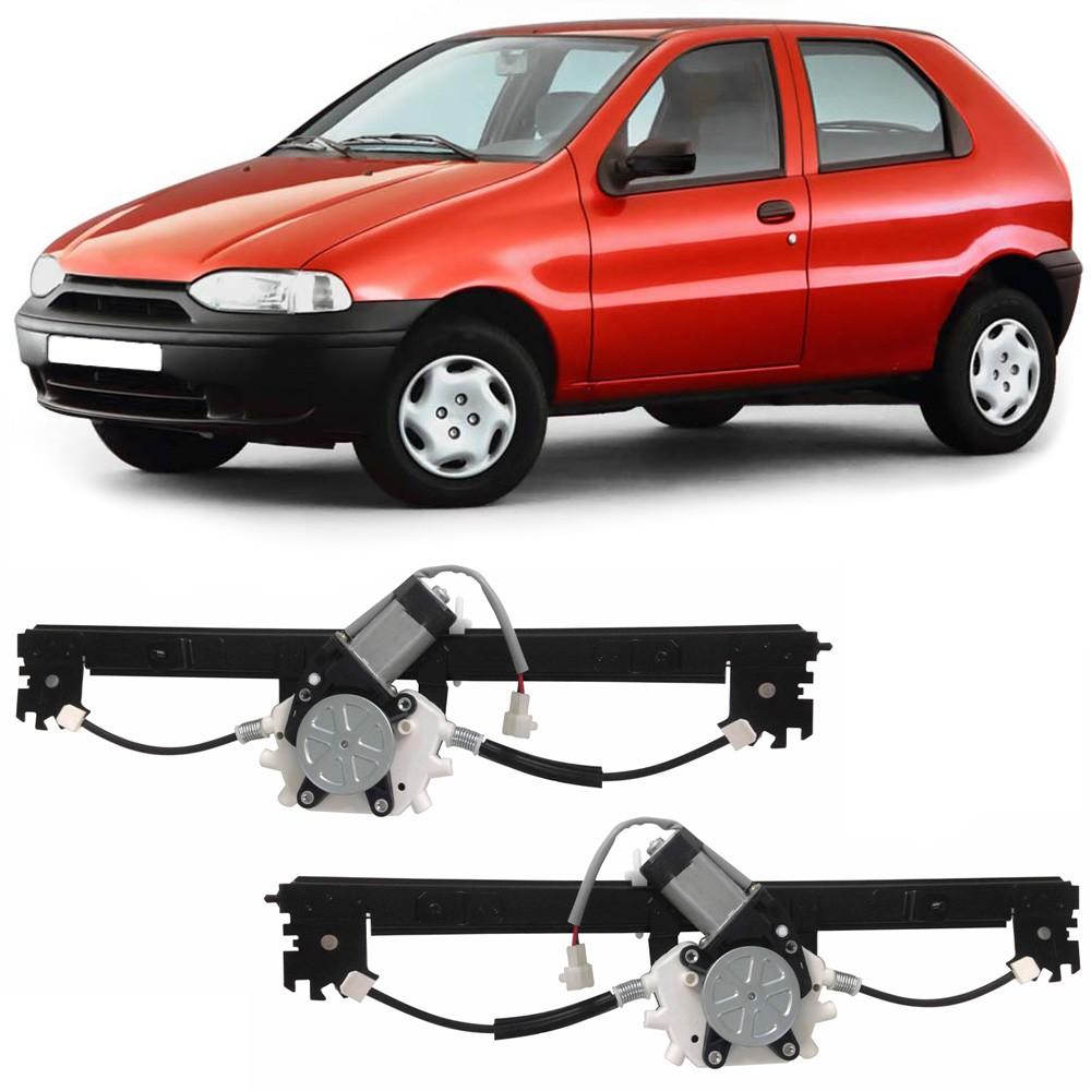 Par Maquina Vidro Elétrico Dianteira + Motor Palio 1996 a 2017 2 Portas Strada 1998 a 2017