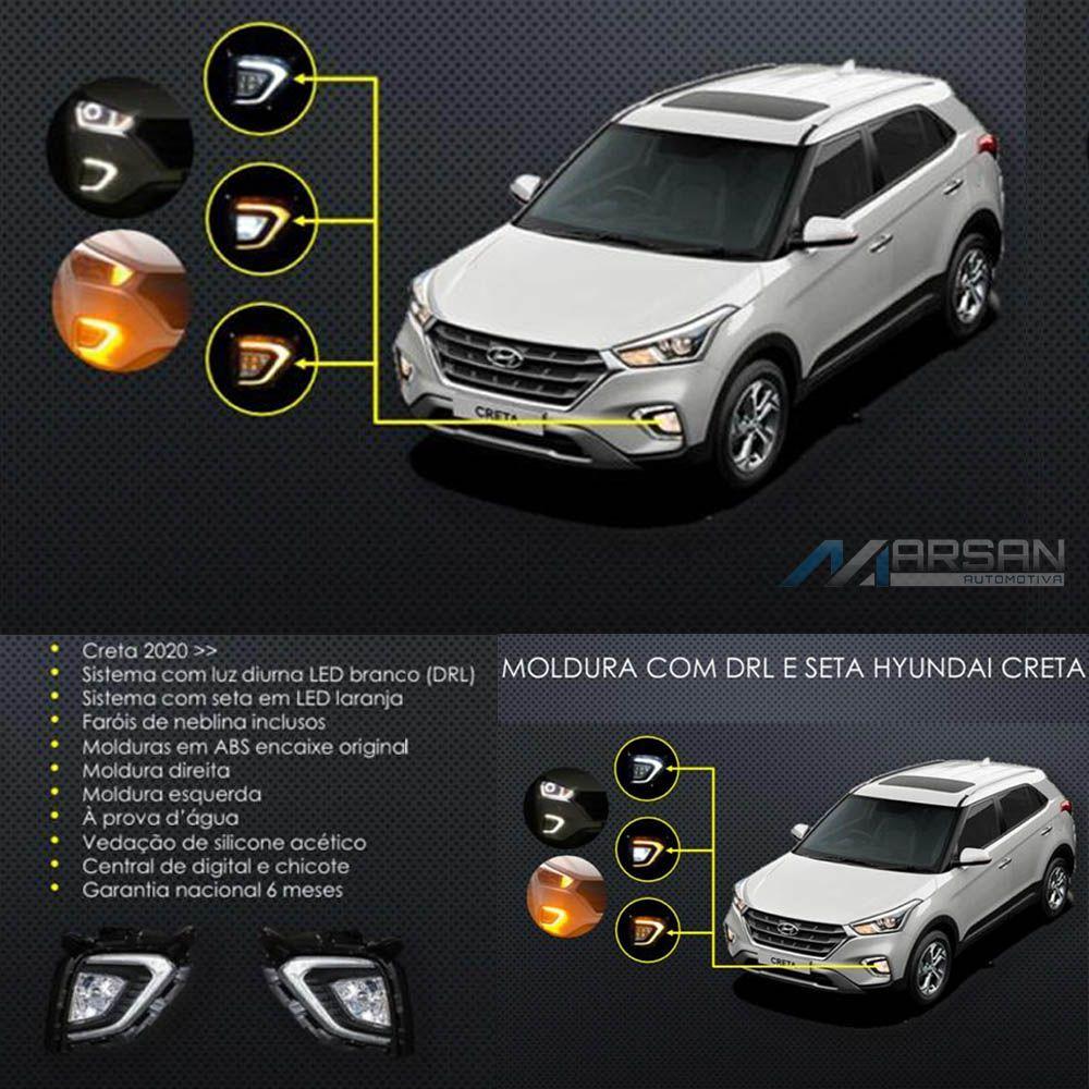 Par Moldura com DRL Luz de Condução Diurna Hyundai Creta 2020 Daylight