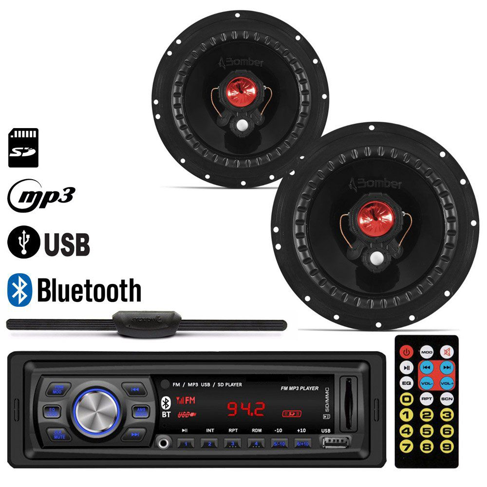 "Radio MP3 Player Usb + Par Alto Falante 6"" 100W RMS + Antena"