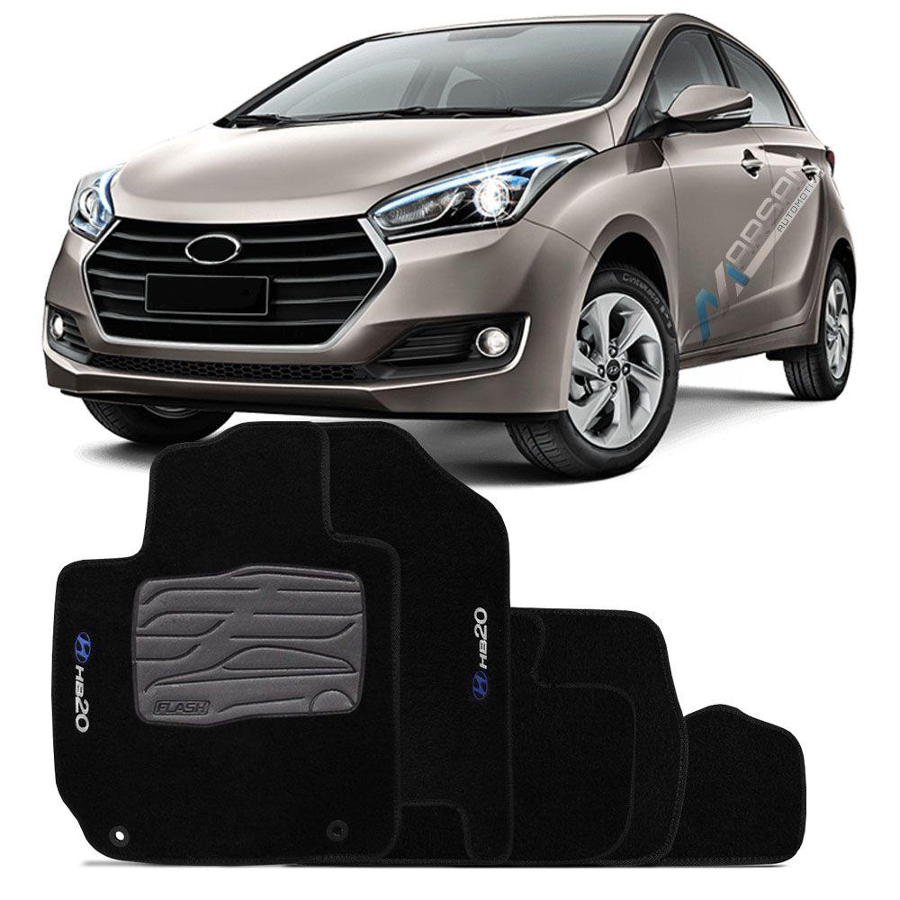 Tapete Carpete Preto Bordado Hyundai HB20 HB20s 2012 a 2018