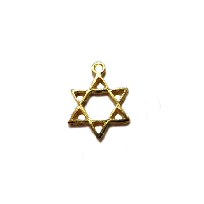 Pingente Estrela de Davi pequena dourada 01pç -  PTD037