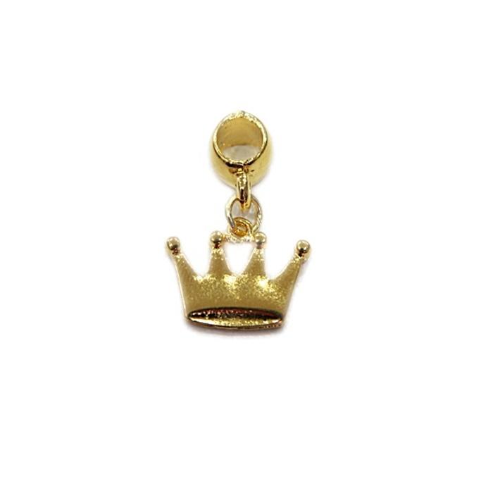 Berloque Dourado Coroa Achatado BED033