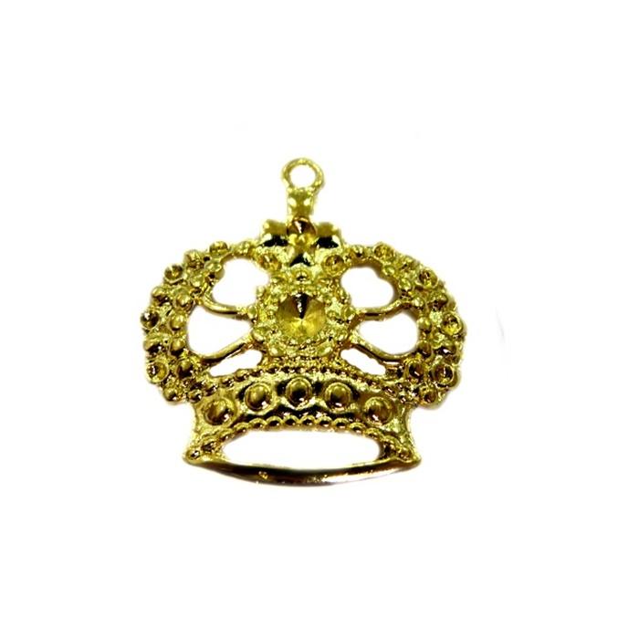 Pingente Coroa VI dourada- PTD045