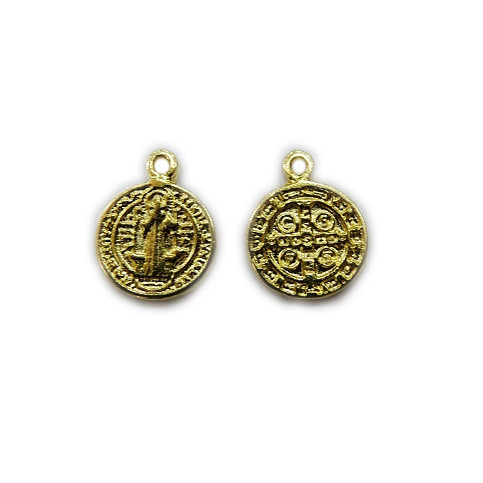 Pingente dourado mini medalha São Bento (05 unid.)- PTD050