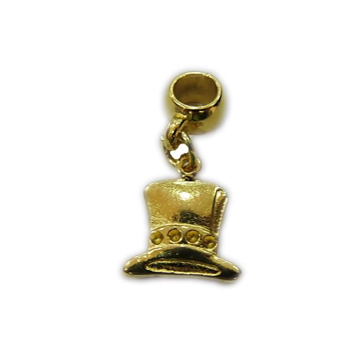 Berloque dourado pingente Cartola Alice- BED087