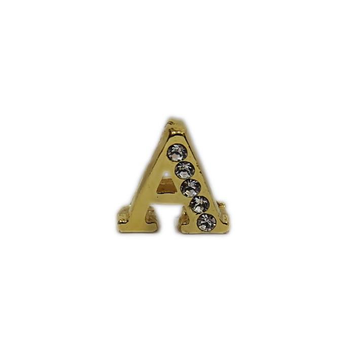 Letra dourada c/ strass passante (A- B- C- D- E)- LTD001