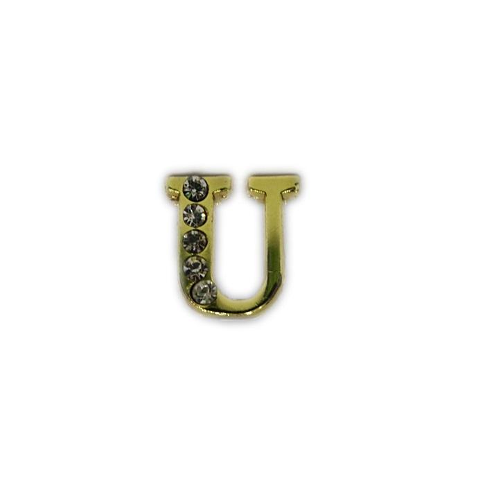 Letra dourada c/ strass passante (U- V- W- X- Y- Z)- LTD005