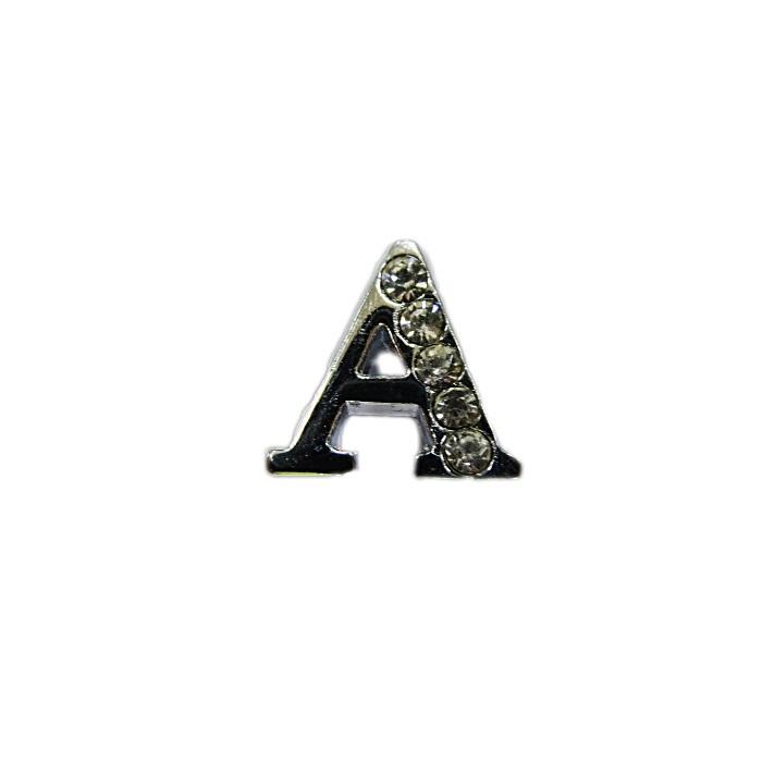 Letra níquel c/ strass passante (A- B- C- D- E)- LTN001