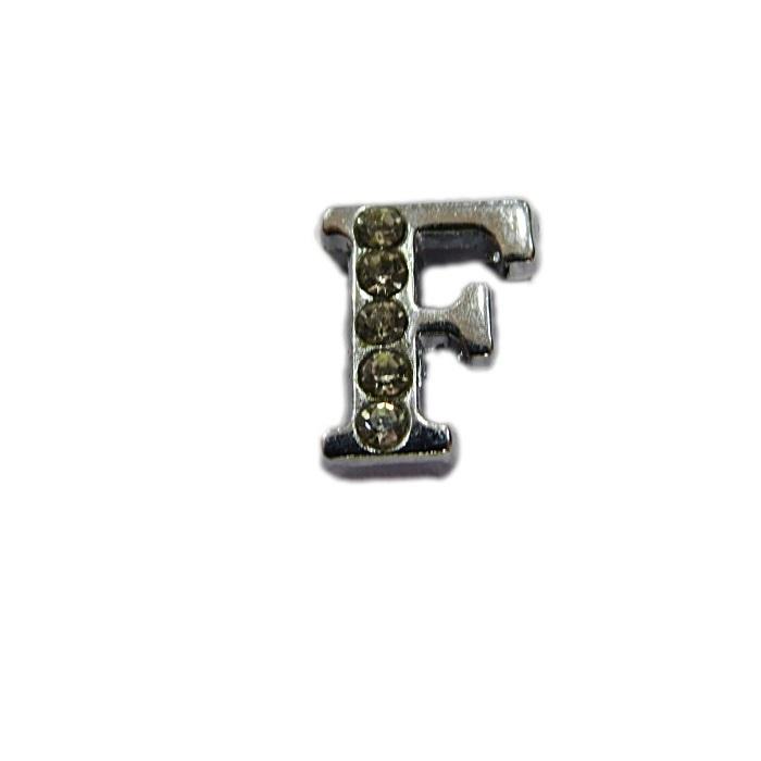 Letra níquel c/ strass passante (F- G- H- I- J)- LTN002