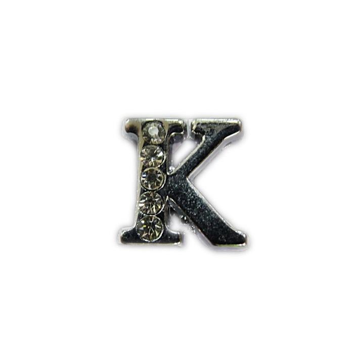 Letra níquel c/ strass passante (K- L- M- N- O)- LTN003