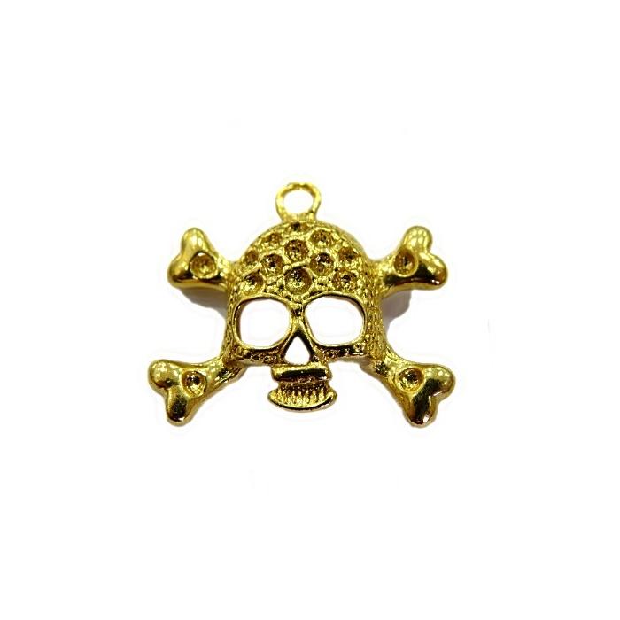 Pingente Caveira II dourada- PTD055
