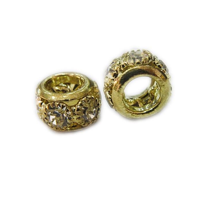 Berloque Rondela de strass dourada M- ROD003