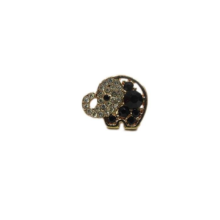 Piercing dourado elefante c/ strass jet e cristal (Par)- PID78