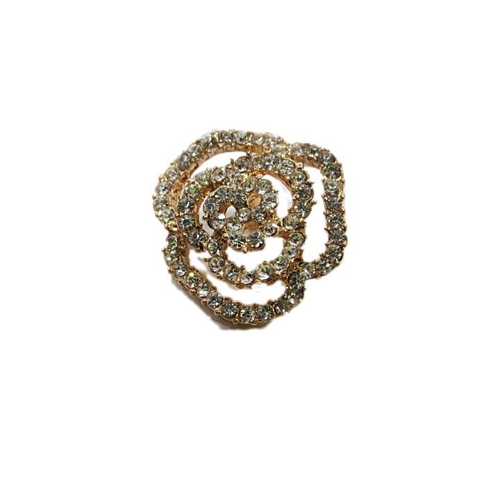 Piercing dourado rosa vazada c/ strass  (Par)- PID082