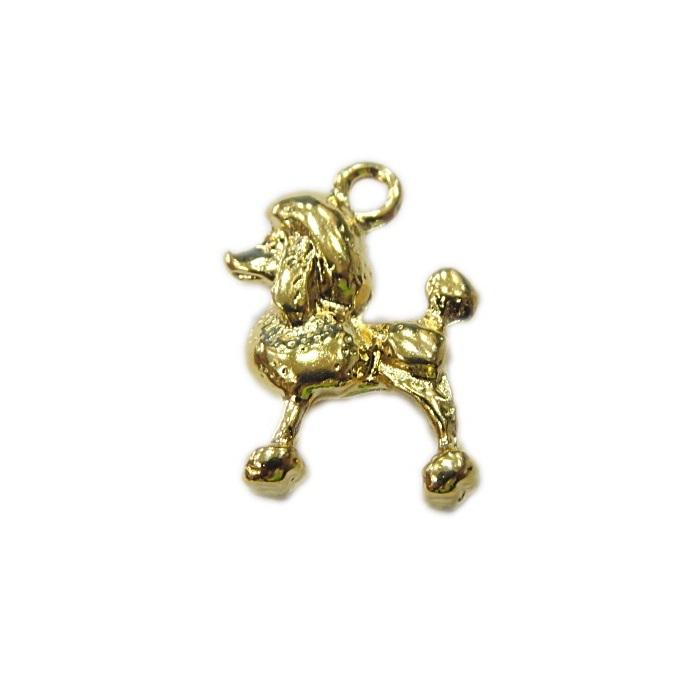 Pingente dourado poodle- PTD074