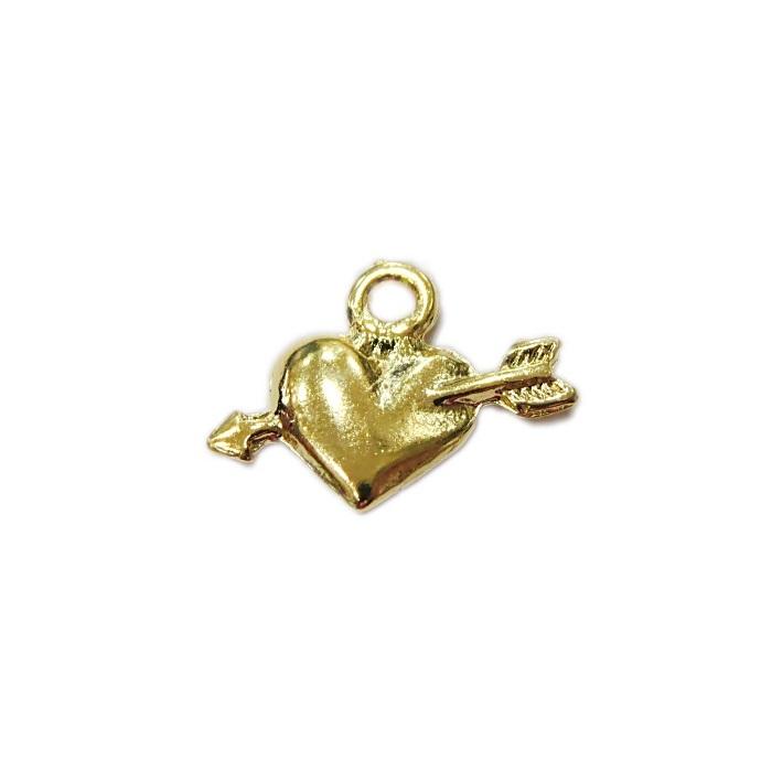 Pingente dourado coração c/ flecha (05 unid.)- PTD075