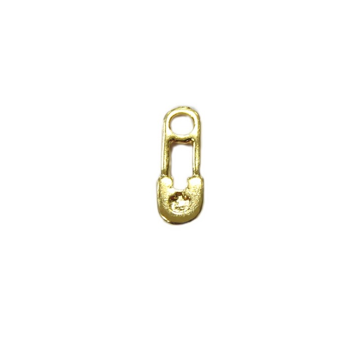 Pingente dourado mini alfinete de segurança de fralda (10 unid)- PTD076