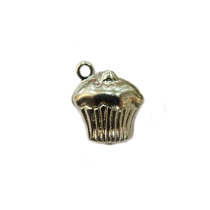 Pingente Cupcake níquel da Alice- PTN017