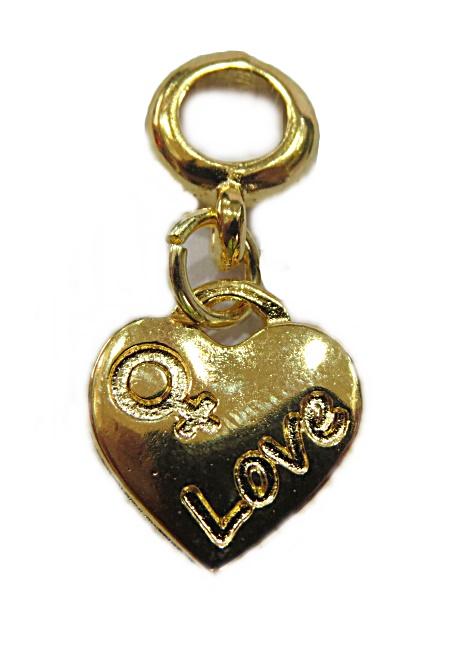 Berloque Dourado Pingente Love Feminino Bed118