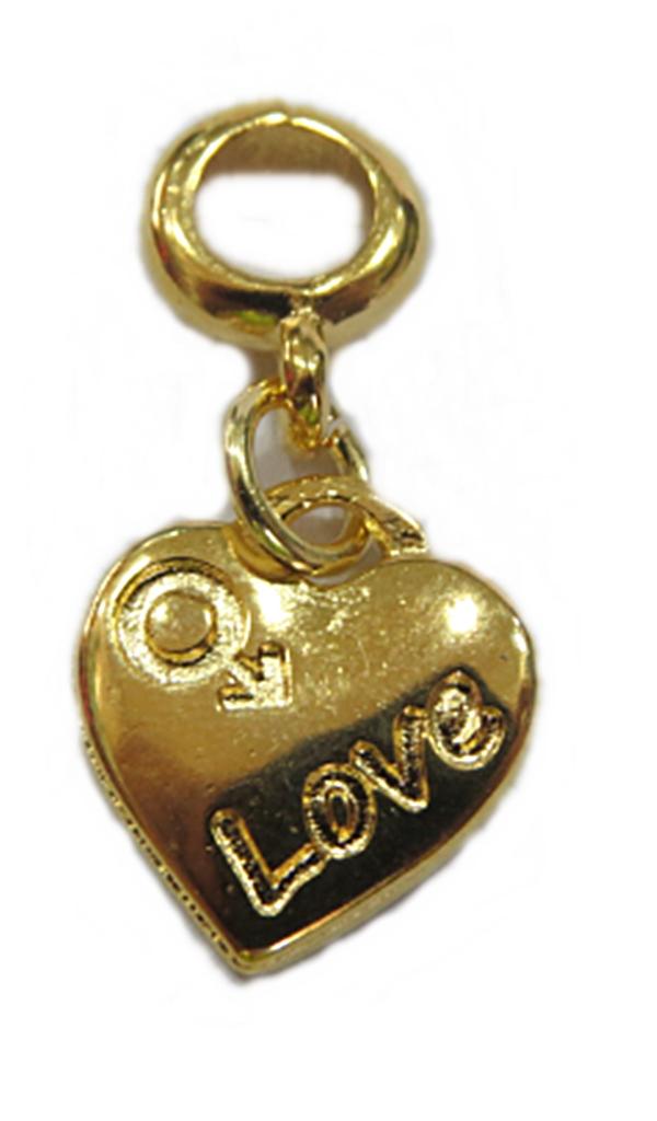 Berloque Dourado Pingente Love/Masculino Bed1120