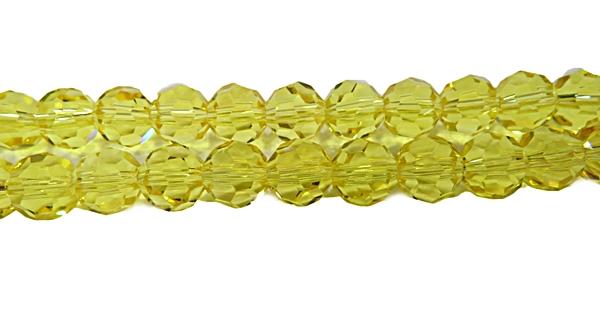 Fio de Cristal Bolinha N 08 mm-Amarelo Transparente-CCB001