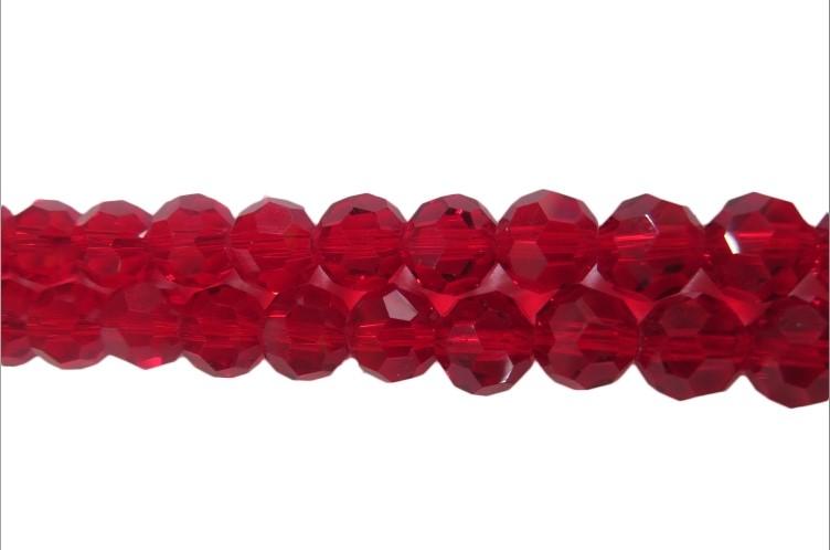 Fio de Cristal Bolinha N08 mm Vermelho -CCB004
