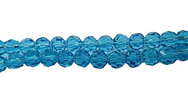 Fio de Cristal Chines Bolinha N 08 mm-Turquesa Transp-CCB009