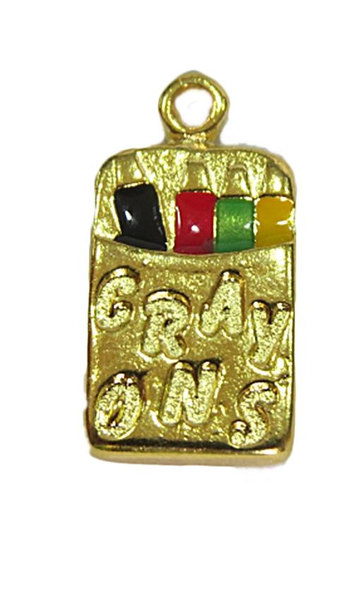 Pingente Dourado Caixa Lápis de Cor -PTD090