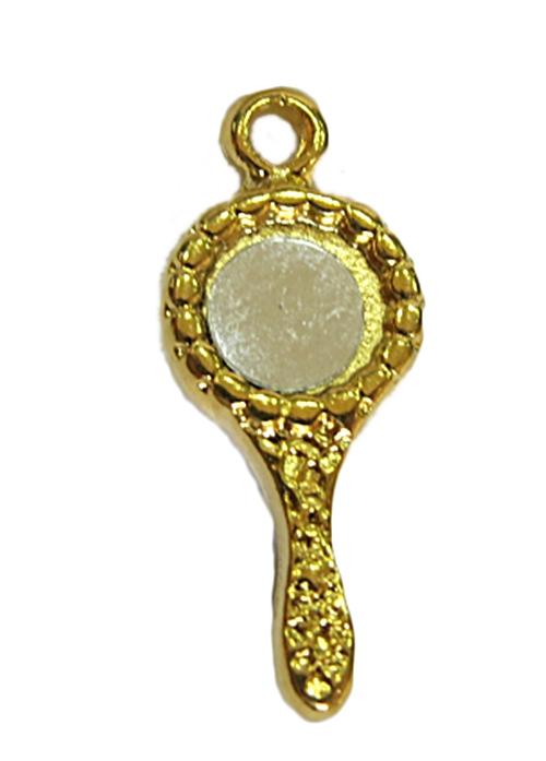 Pingente Dourado Espelho Alice Redondo-PTD113
