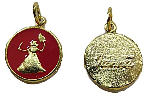 Ping. Medalha Resinada Niquel e Dourada (Vermelha Iansã) pod026