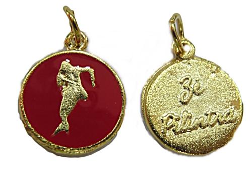 Ping. Medalha Niquel e Dourada Resinada (Vermelha Zé Pilintra) pod027