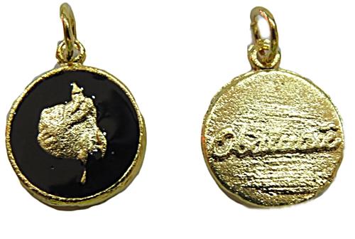 Ping. Dourada Medalha Resinada (Preto Obaluaê) pod028