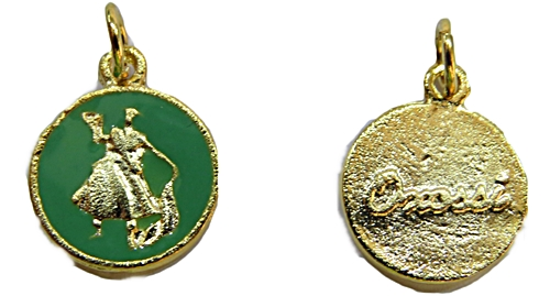 Ping. Medalha Resinada  dourada e niquel (Verde Oxossi) pod030