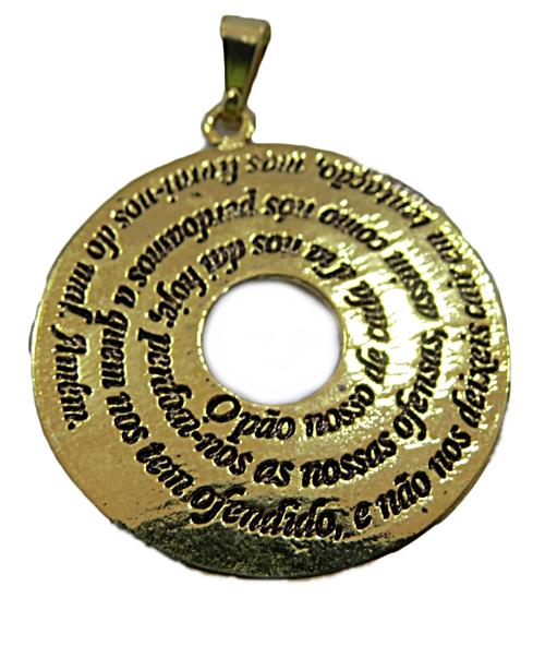 Pingente Dourado Mandala Pai Nosso-PTD121