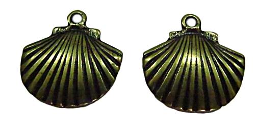 Pingente Concha M Ouro Velho-02 peças -PTO053