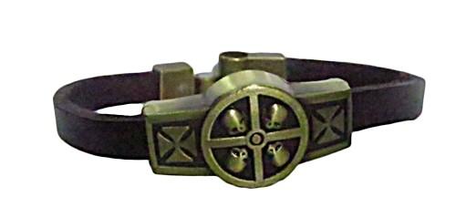 pulseira pronta couro marrom/ caveira-pul035