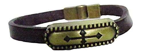 pulseira pronta couro marrom/ cruz-pul036