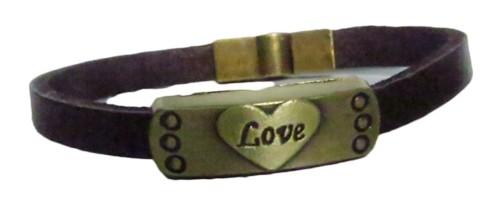 pulseira pronta couro marrom/ love-pul037