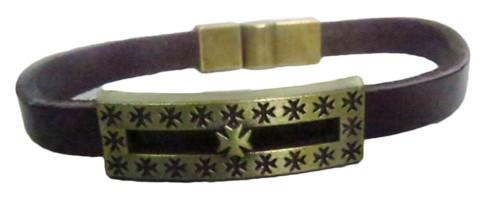 pulseira pronta couro marrom/floco -pul038