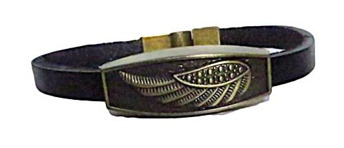 pulseira pronta couro preto/asa -pul040