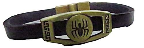 pulseira pronta couro preto/spider -pul041