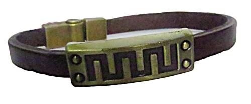 pulseira pronta marrom/placa -pul044