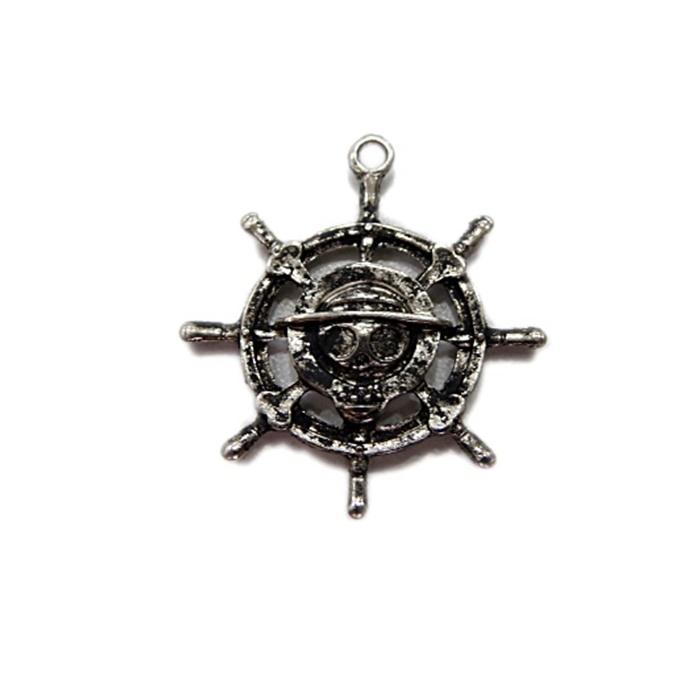 Pingente timão Pirata níquel envelhecido- PTN047