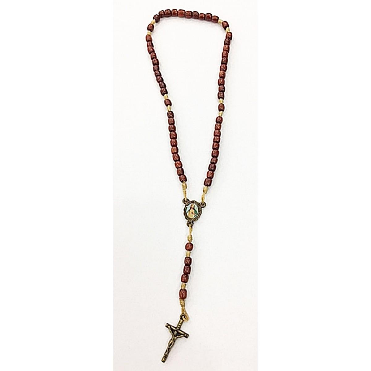 Terço P-oval medalha santos variados marrom-ter001