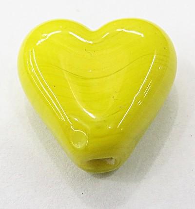 coração Pequeno Murano Amarelo Leitoso-MU904