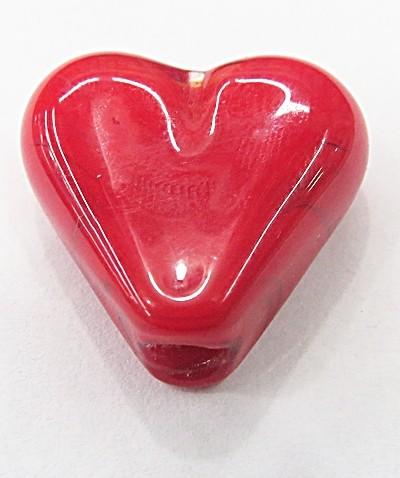 coração Pequeno Murano VERMELHO  Leitoso-MU909