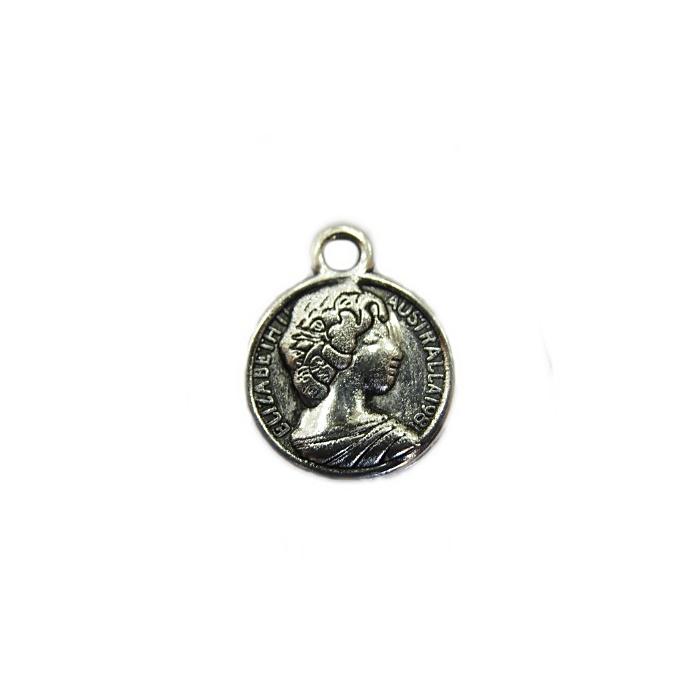 Pingente Medalha Elizabeth II níquel  (01 unid.)- PTN066