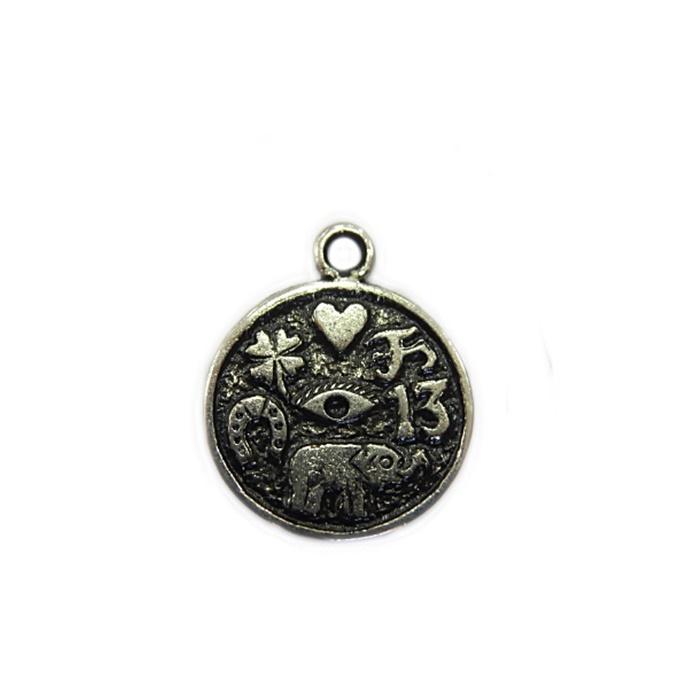 Pingente Medalha sorte níquel envelhecido II- PTN074