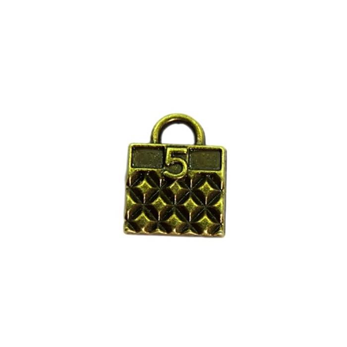 Pingente Bolsa 5 ouro envelhecida- PTO030