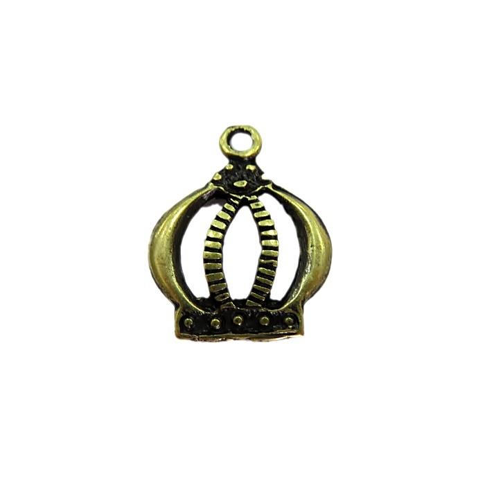 Pingente Coroa G ouro velho- PTO037